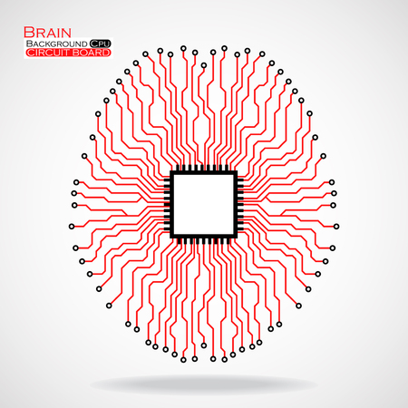 electronical: Brain. Cpu. Circuit board. Vector illustration