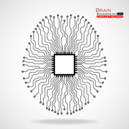 semiconductor: Brain. Cpu. Circuit board. Vector illustration