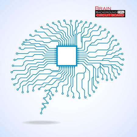 脳。Cpu。回路基板です。ベクトルの図。Eps 10