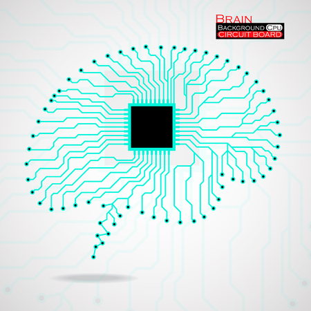 brain illustration: Brain. Cpu. Circuit board. Vector illustration. Eps 10