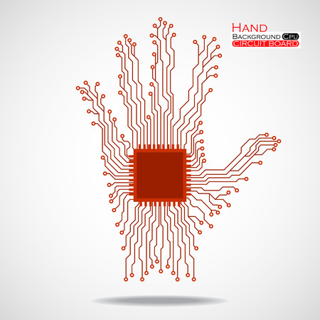 semiconductors: Hand. Cpu. Circuit board. Vector illustration. Eps 10