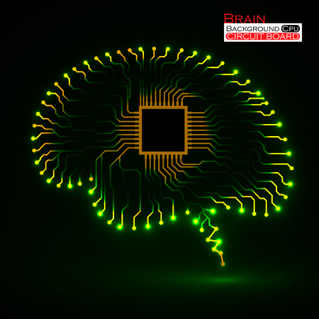 artificial light: Neon brain. Cpu. Circuit board. Abstract technology background. Vector illustration. Eps 10