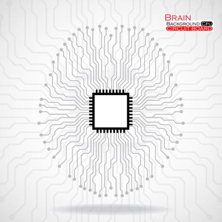 semiconductor: Brain. Cpu. Circuit board. Vector illustration. Eps 10