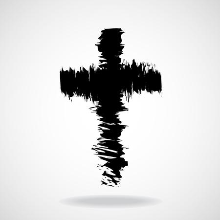 Cross painted brushes. Christian Symbol. Vector illustration. Eps 10