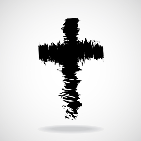 catholicism: Cross painted brushes. Christian Symbol. Vector illustration. Eps 10