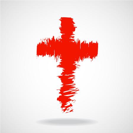 orthodoxy: Cross painted brushes. Christian Symbol. Vector illustration. Eps 10