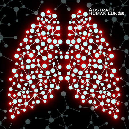 Abstract human lungs, molecule structure.