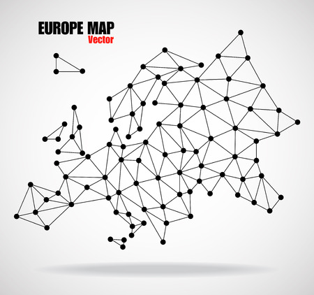 Polygonal map of Europe with  dots and lines, network connections, vector illustration Illustration