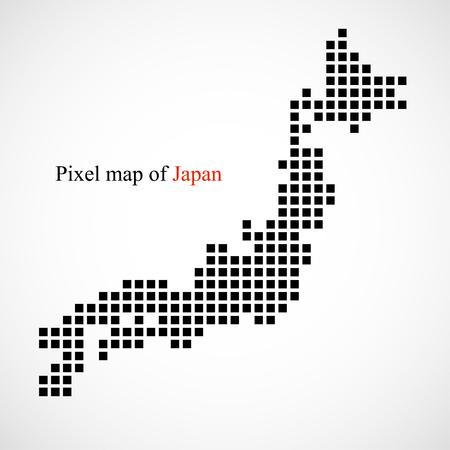 Pixel map of Japan, vector illustration