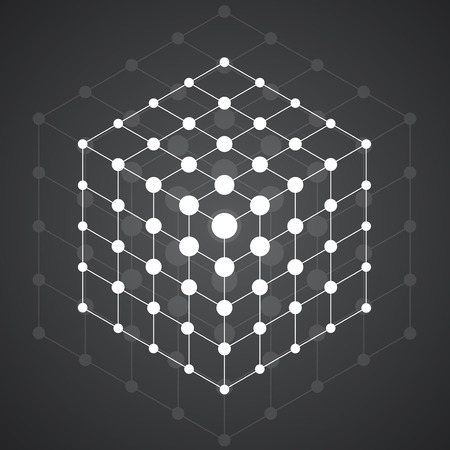 parallelepiped: Cube of lines and dots, molecular lattice, geometric shape, network connection, vector illustration Illustration