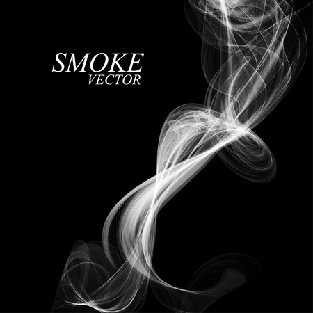 smell of burning: Abstract smoke isolated on black, vector illustration Illustration
