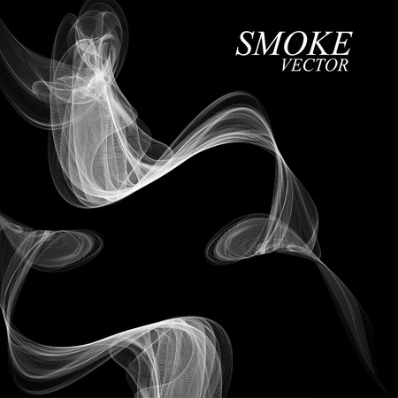 cigar shape: Abstract smoke isolated on black, vector illustration Illustration