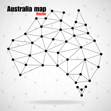 Abstract polygonal Australia map with dots and lines, network connections, vector illustration Illustration