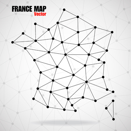 Abstract polygonal France map with dots and lines, network connections, vector illustration