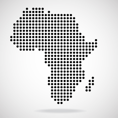 Abstract map of Africa from round dots, vector illustration