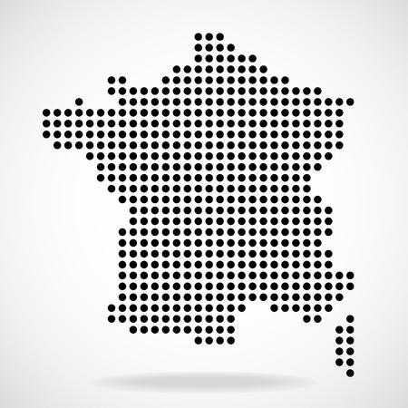 Resumen mapa de Francia de puntos redondos, ilustración vectorial Ilustración de vector