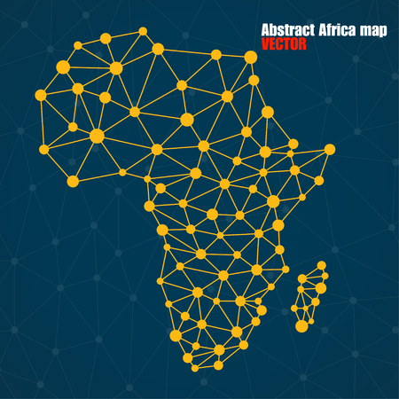 Abstract polygonal Africa map with  dots and lines, network connections, vector illustration