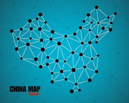 montreal: Abstract polygonal China map with dots and lines, network connections, vector illustration