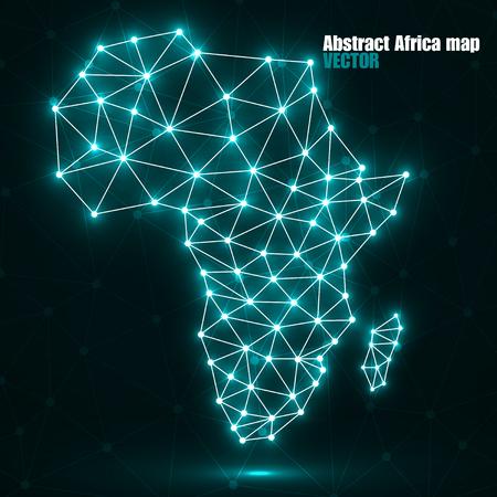 Abstracte veelhoekige Afrika kaart met gloeiende stippen en lijnen, netwerkverbindingen, vectorillustratie