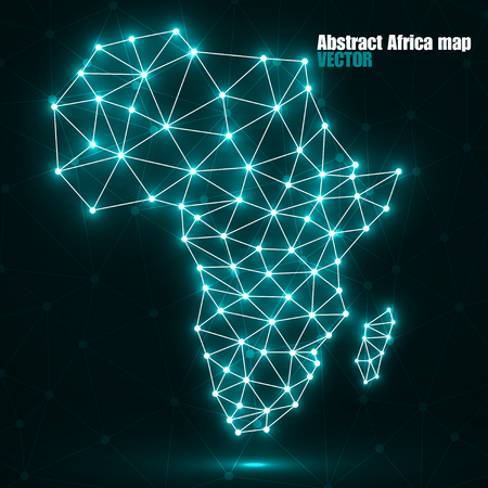 Abstract polygonal Africa map with glowing dots and lines, network connections, vector illustration