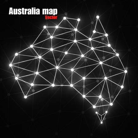 Abstract polygonal Australia map with glowing dots and lines, network connections, vector illustration Illustration