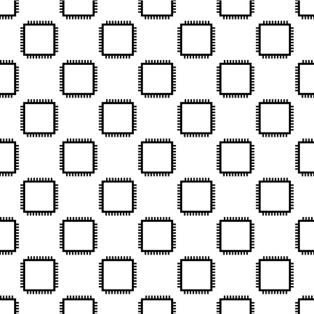 processors: Seamless wallpaper pattern from processors, technology background, vector illustration Illustration