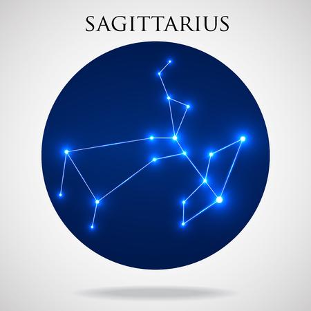 interoperability: Constellation sagittarius zodiac sign isolated on white background, vector illustration