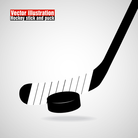 hockey stick: Hockey stick and puck, isolated on a white background