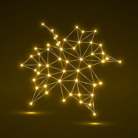 Foglia d'acero in forma geometrica astratta. Illustrazione vettoriale Eps 10