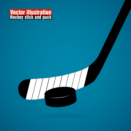 hockey stick: Hockey stick and puck, isolated on a blue background, vector illustration,