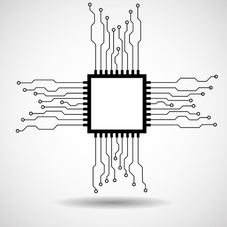 Cpu. Microprocessor. Microchip. Circuit board