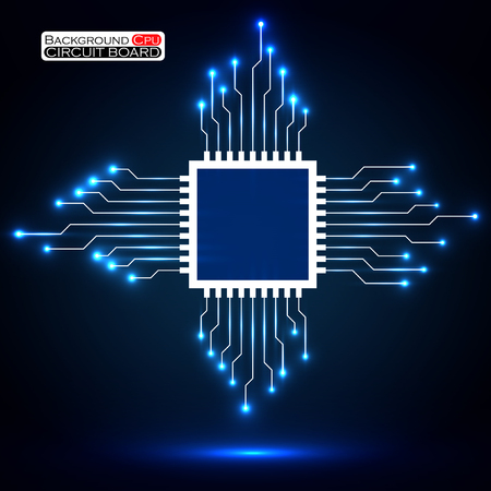 microprocessor: Cpu. Microprocessor. Microchip. Circuit board. Vector illustration.