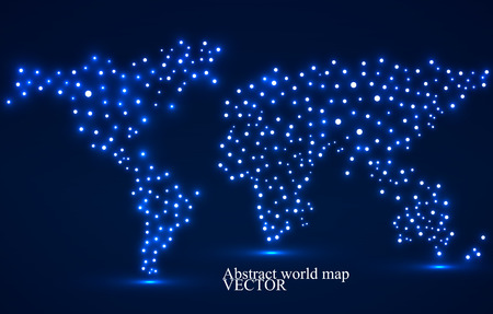 the americas: Abstract world map with glowing dots. Vector illustration.