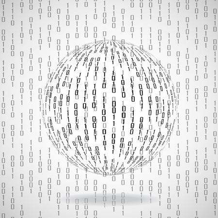 bytes: Ball of binary code. Abstract technology background