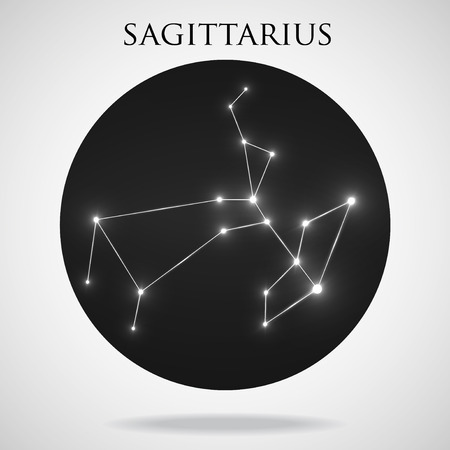 zodiacal symbol: Constellation sagittarius zodiac sign isolated on white background, vector illustration