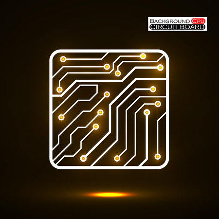 electronical: Neon Cpu. Microprocessor. Microchip. Isolated technology background.