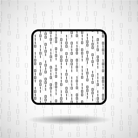 microprocessor: Abstract microprocessor with binary computer code, cpu icon Illustration