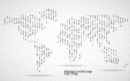 computer code: Abstract world map of binary computer code, technology background