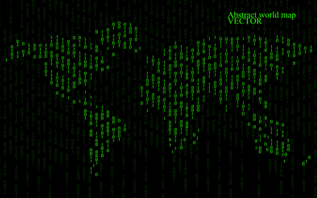 0 geography: Abstract world map of binary computer code, technology background
