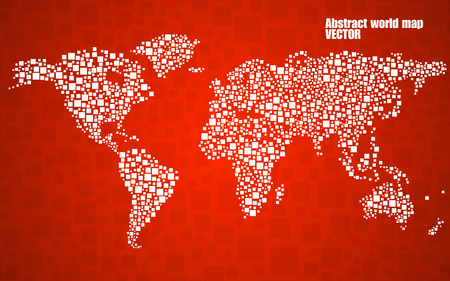 Abstract world map from squares, style background Illustration