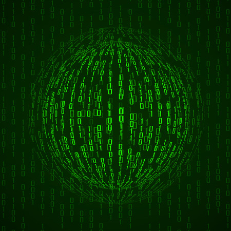 bytes: Ball of binary code. Abstract technology background, vector illustration