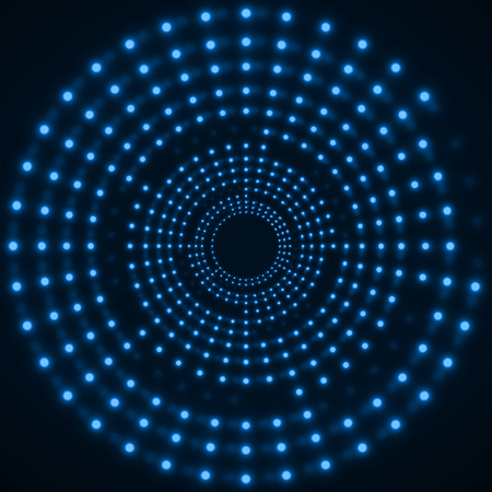 Abstract technology background of glowing circles. Vetores
