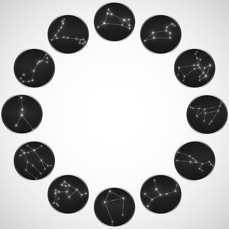 zodiac constellations: Set of round zodiac constellations. Horoscope set: Aries, Leo, Sagittarius, Capricorn, Taurus, Virgo, Libra, Aquarius, Gemini, Cancer, Scorpio, Pisces