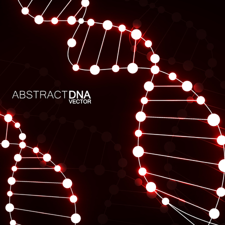 Abstract spiral of DNA, neon molecular background