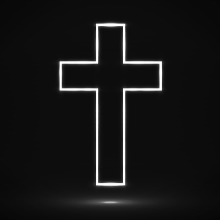 Glowing cross. Christian symbol.
