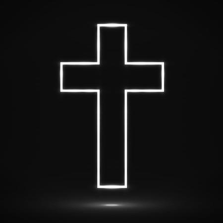 Glowing cross. Christian symbol.