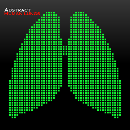 lung transplant: Abstract human lung with pixels. Vector illustration.