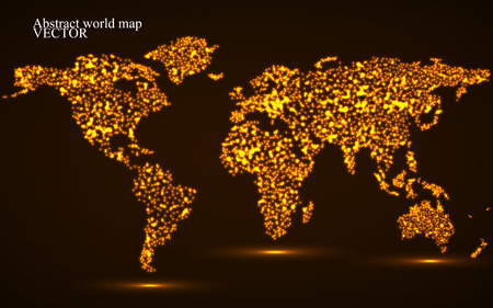 Abstract glowing world map. Vector illustration. Eps10