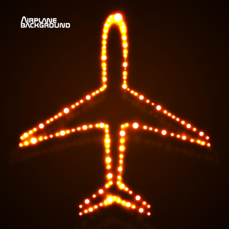 Abstract glowing airplane with neon. Vector illustration. Illustration