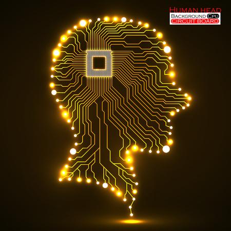electronical: Neon human head, cpu, circuit board Illustration